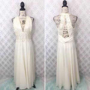 Scott McClintock Cream Lace Halter Wedding Dress